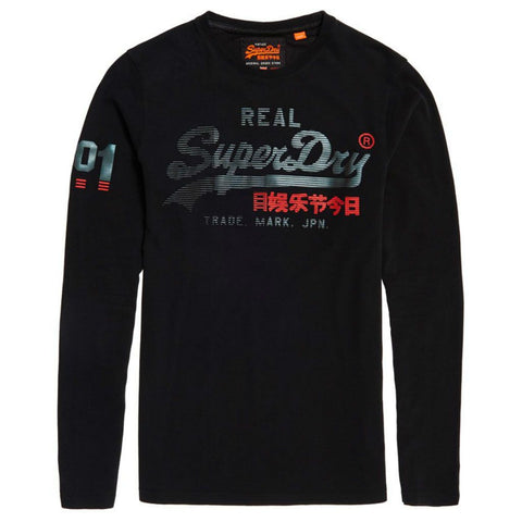 Superdry Vintage Logo 1st Duo L/S T-Shirt in Black T-Shirts Superdry
