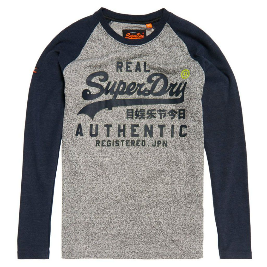 Superdry Vintage Logo Raglan L/S T-Shirt in Shadow Cast Navy Marl