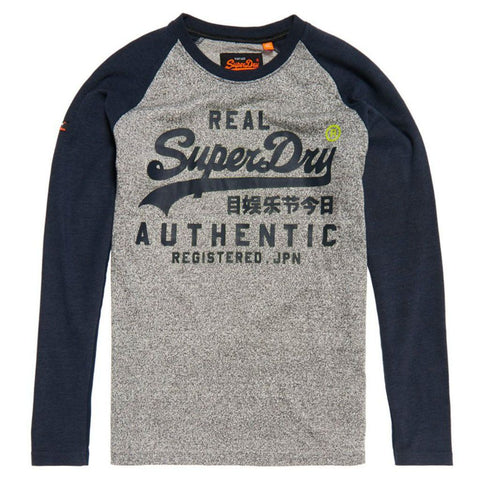 Superdry Vintage Logo Raglan L/S T-Shirt in Shadow Cast Navy Marl T-Shirts Superdry