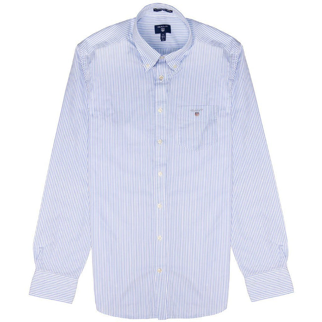 Gant The Broadcloth Banker Stripe Shirt in Capri Blue