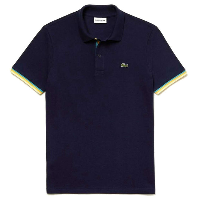 Lacoste PH4220-166 Slim Fit Piped Sleeves Petit Piqué Polo Shirt in Navy