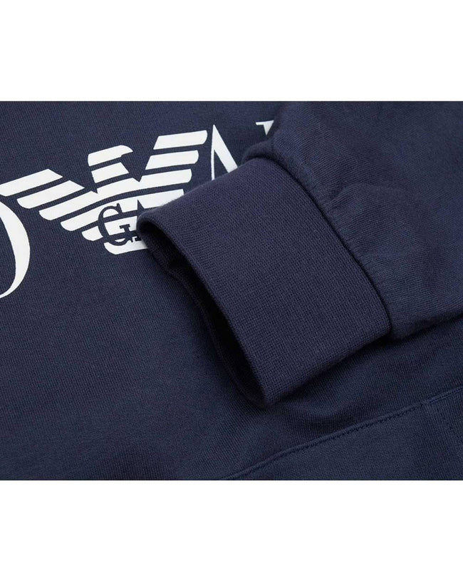Emporio Armani EA7 Logo Hooded Sweatshirt in Navy Blue