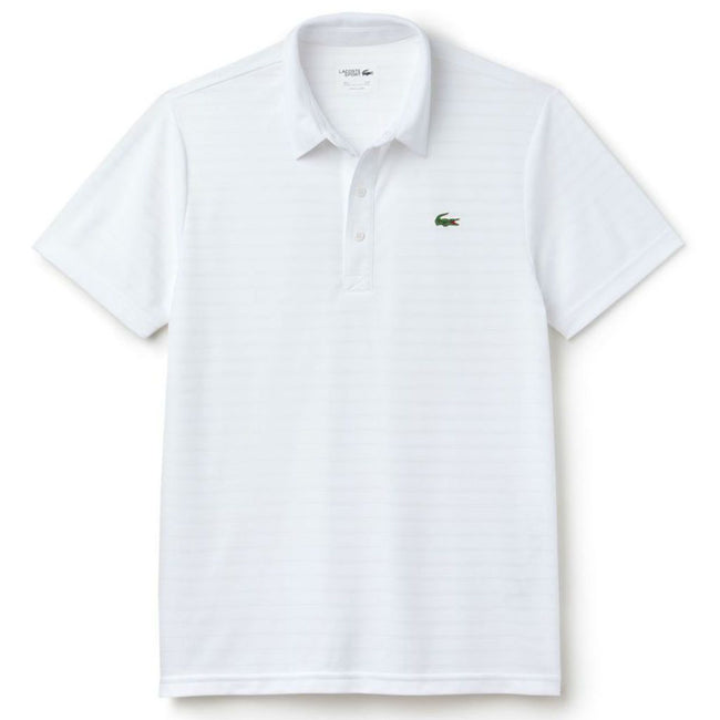 Lacoste Sport DH8132-001 Striped Tech Jacquard Polo Shirt in White