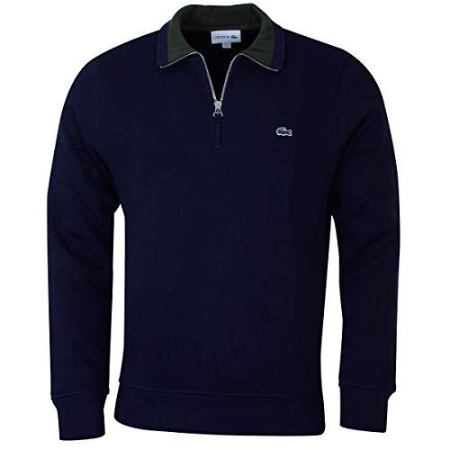 Lacoste SH4288-L1N Quarter Zip Sweater in Navy