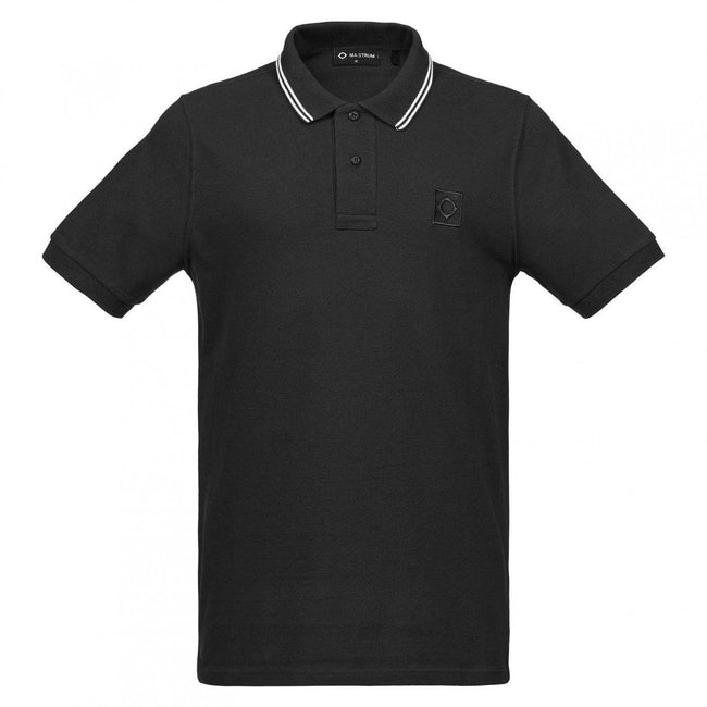 MA.Strum Icon Tipped Pique Polo Shirt in Jet Black