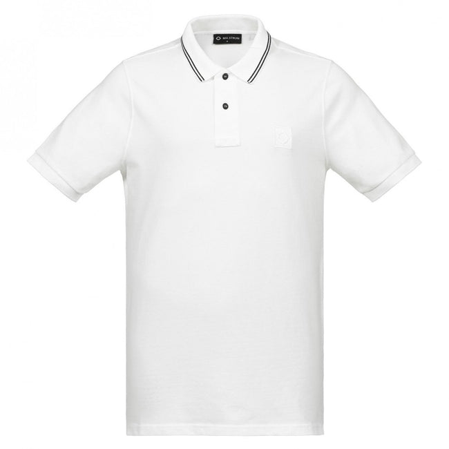 MA.Strum Icon Tipped Pique Polo Shirt in White
