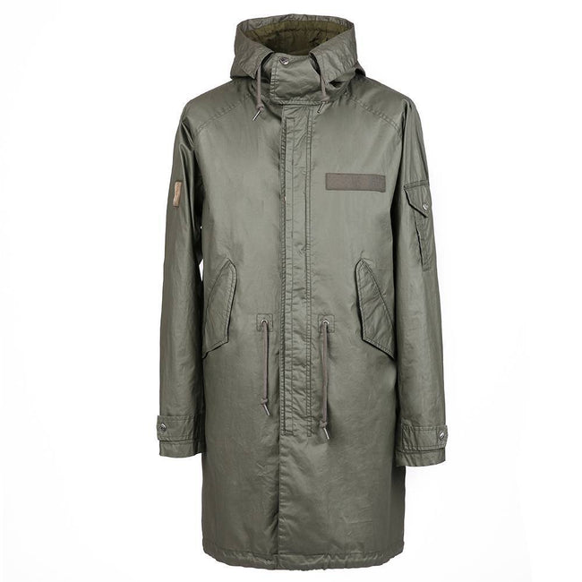 Pretty Green Detachable Hooded Parka in Khaki