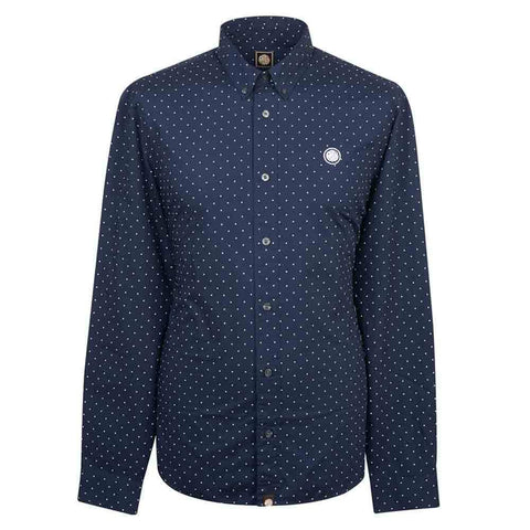 Pretty Green Slim Fit Polka Dot Shirt in Navy Shirts Pretty Green
