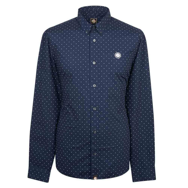 Pretty Green Slim Fit Polka Dot Shirt in Navy