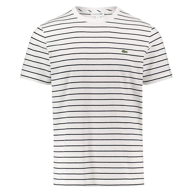 Lacoste TH4244-EVO T-Shirt in White With Black Stripes