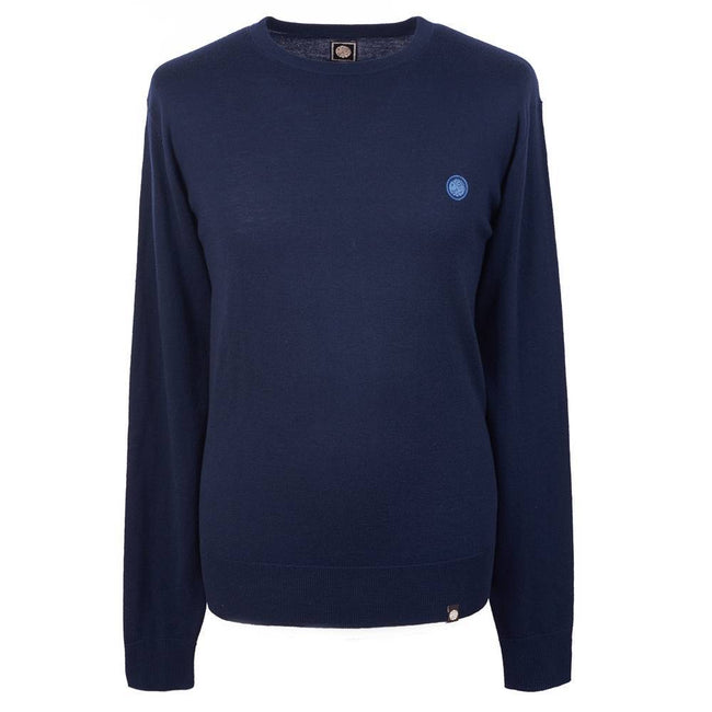 Pretty Green Crew Neck Knitted Jumper in Navy Jumpers Pretty Green