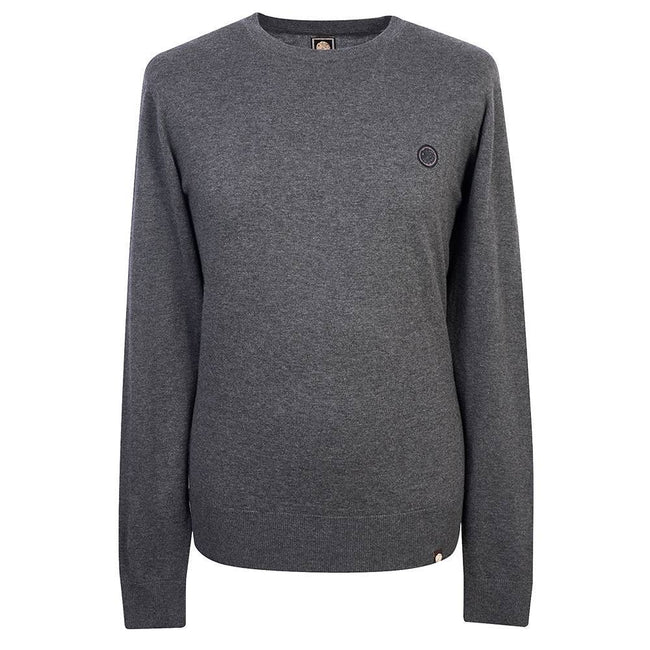 Pretty Green Crew Neck Knitted Jumper in Dark Grey