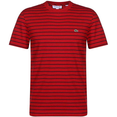 Lacoste TH4244-528 T-Shirt in Red with Black Stripes T-Shirts Lacoste