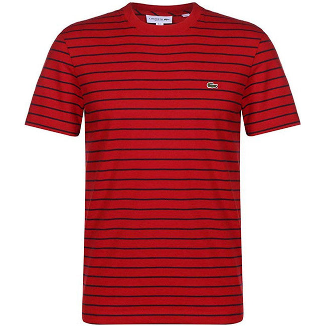 Lacoste TH4244-528 T-Shirt in Red with Black Stripes