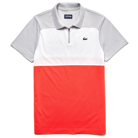 Lacoste Sport DH3460 Quarter Zip Pique Polo Shirt in Grey / White / Red Polo Shirts Lacoste