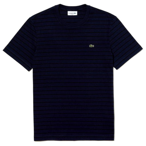 Lacoste TH4244-JB1 T-Shirt in Dark Blue/Navy with Black Stripes T-Shirts Lacoste