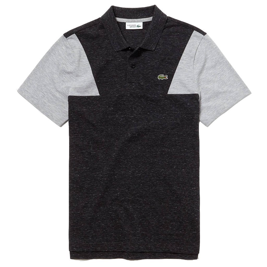Lacoste Sport YH3463-PVJ Contrast Sleeves Ultra Light Cotton Polo Shirt in Dark Grey