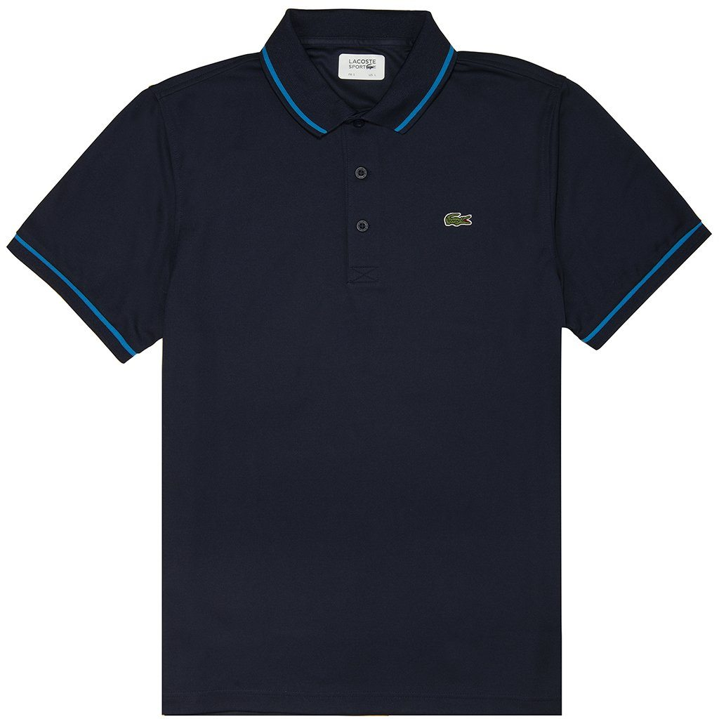 Lacoste Sport DH9630-6WF Piped Technical Pique Polo Shirt in Navy