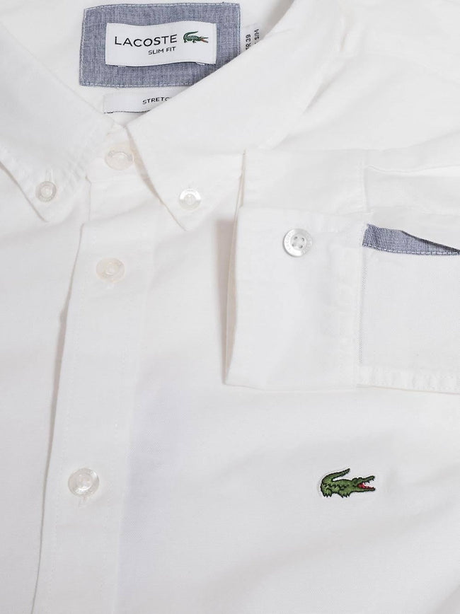 Lacoste CH0763-001 Slim Fit Stretch Oxford Cotton Shirt in White
