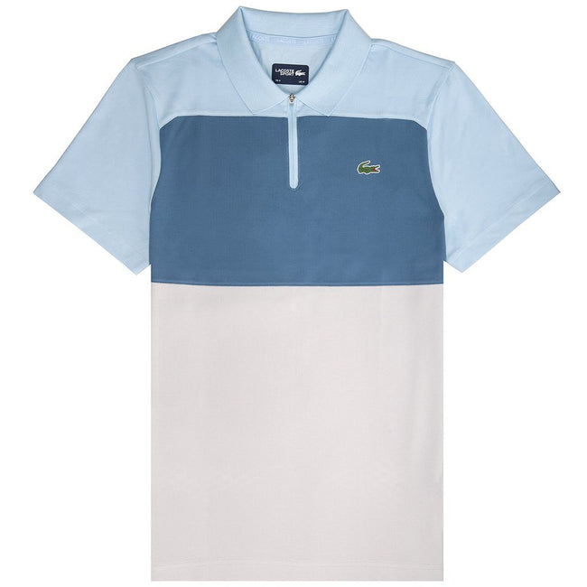 Lacoste Sport DH3460-6J1 Quater Zip Pique Polo Shirt in Light Blue / Blue / Light Grey