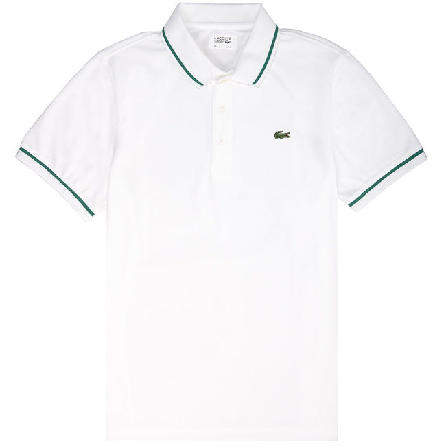 Lacoste Sport DH9630-A20 Piped Technical Pique Polo Shirt in White / Green