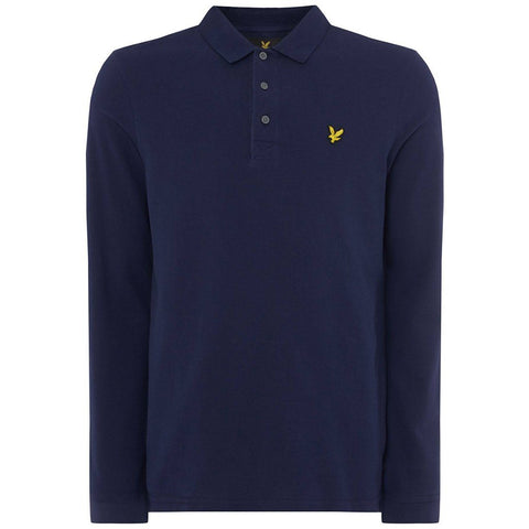 Lyle & Scott Long Sleeved Polo Shirt in Navy Polo Shirts Lyle & Scott
