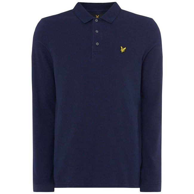 Lyle & Scott Long Sleeved Polo Shirt in Navy