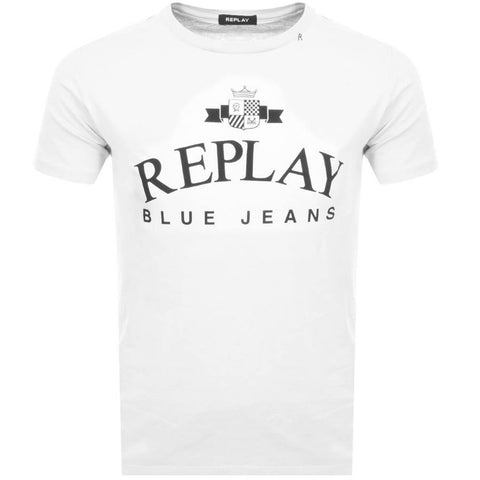 Replay Blue Jeans T-Shirt in White T-Shirts Replay