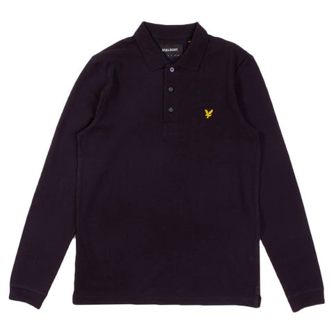 Lyle & Scott Long Sleeved Polo Shirt in Black Polo Shirts Lyle & Scott