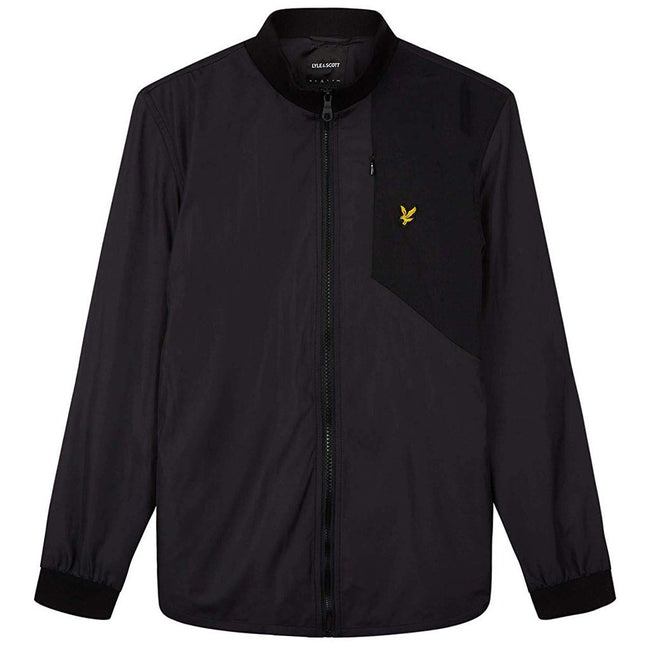 Lyle & Scott Funnel Neck Fabric Mix Jacket in Black