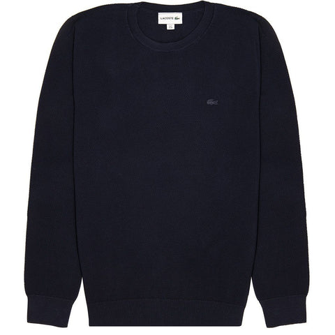 Lacoste AH4082-166 Cotton Pique Jumper in Navy Jumpers Lacoste