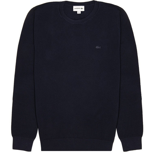 Lacoste AH4082-166 Cotton Pique Jumper in Navy