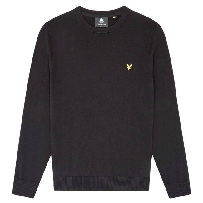 Lyle & Scott Cotton Merino Crew Neck Jumper in Black Jumpers Lyle & Scott
