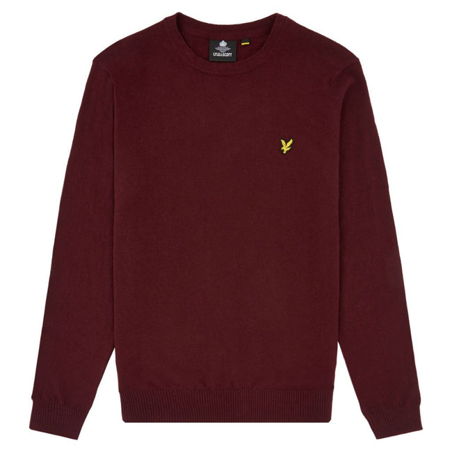 Lyle & Scott Cotton Merino Wool Crew Neck Jumper in Burgundy