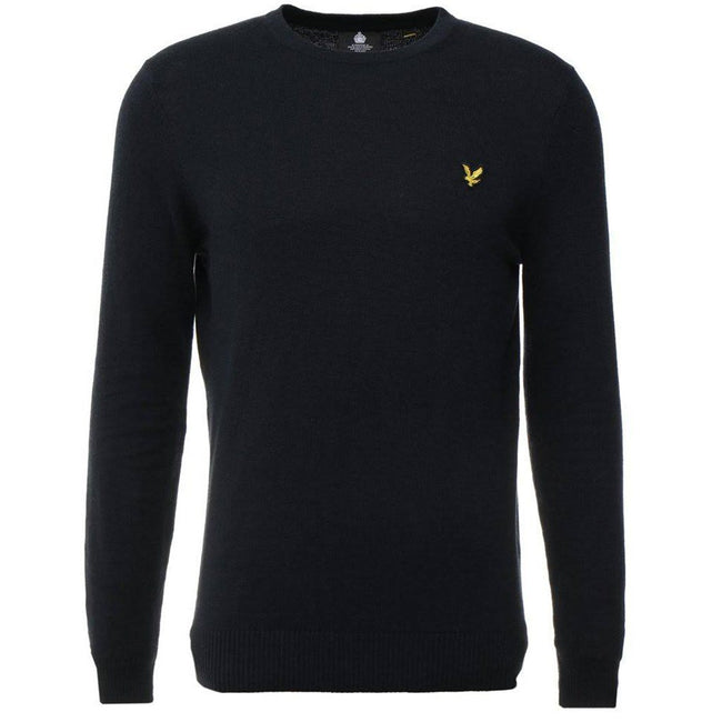 Lyle & Scott Cotton Merino Wool Crew Neck Jumper in Dark Navy Jumpers Lyle & Scott