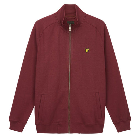 Lyle & Scott Funnel Neck Zip Through Sweatshirt in Burgundy Coats & Jackets Lyle & Scott