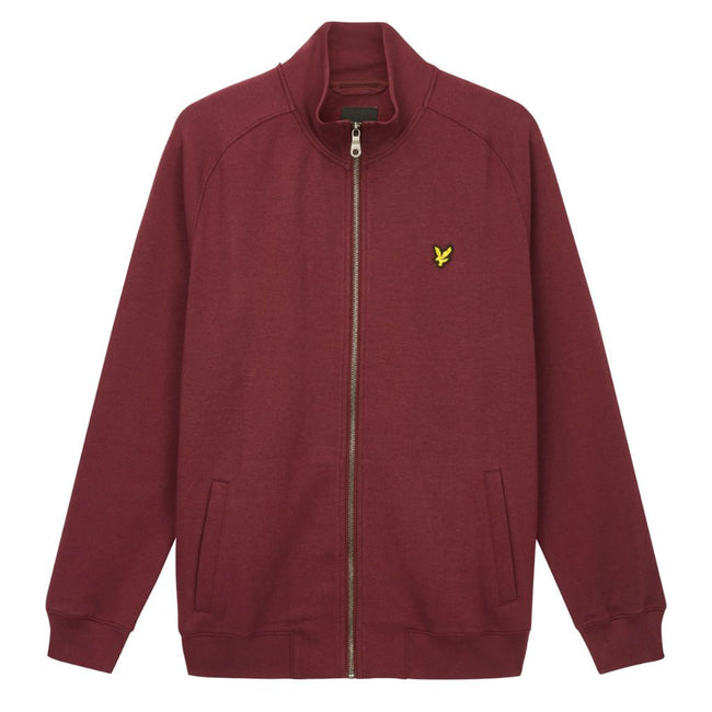 Lyle & Scott Funnel Neck Zip Through Sweatshirt in Burgundy