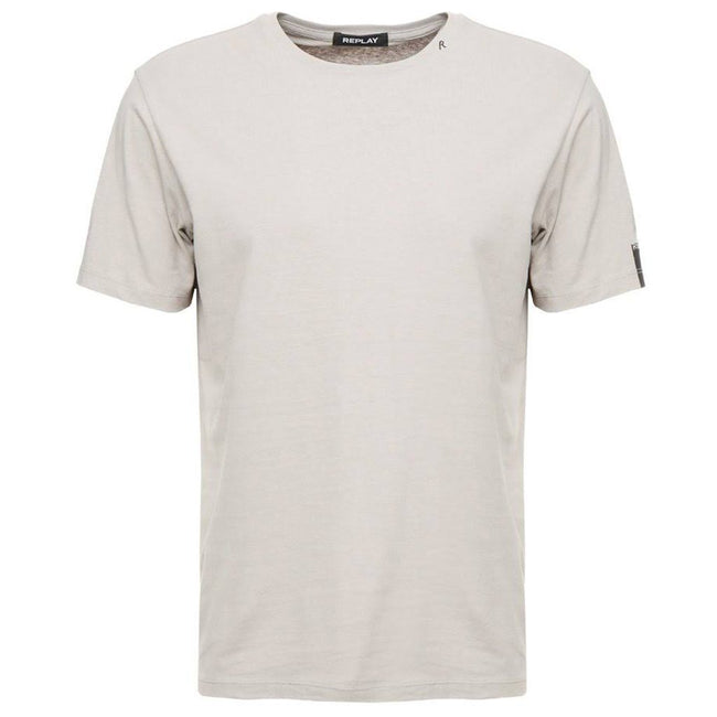 Replay Pure Cotton Crewneck T-Shirt in Light Mud