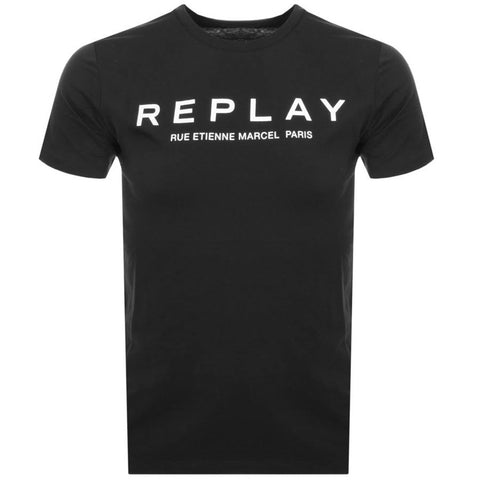 Replay Logo T-Shirt in Black T-Shirts Replay
