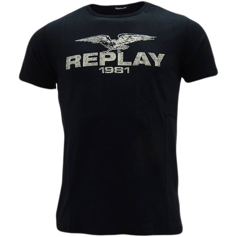 Replay Eagle Logo T-Shirt in Black T-Shirts Replay
