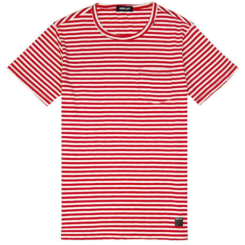 Replay Striped T-Shirt in Red/ White T-Shirts Replay