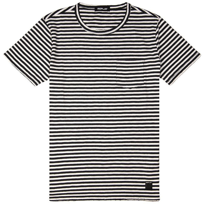 Replay Striped T-Shirt in Black/ White T-Shirts Replay