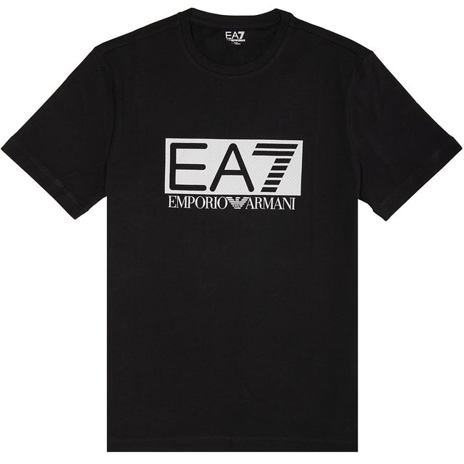 EA7 Emporio Armani Textured Logo T-Shirt in Black