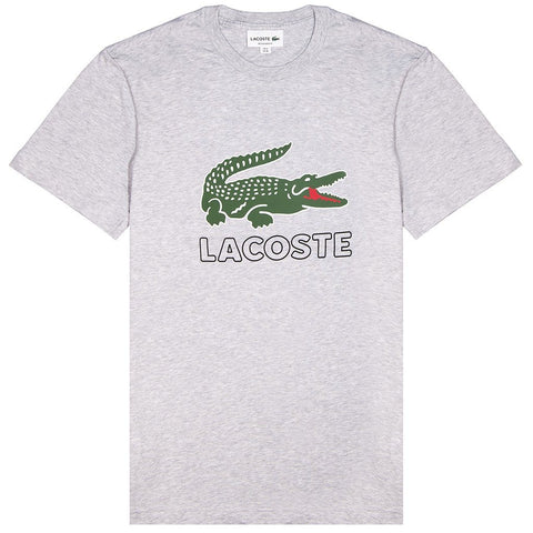 Lacoste TH6386 Logo T-Shirt in Silver Chine T-Shirts Lacoste