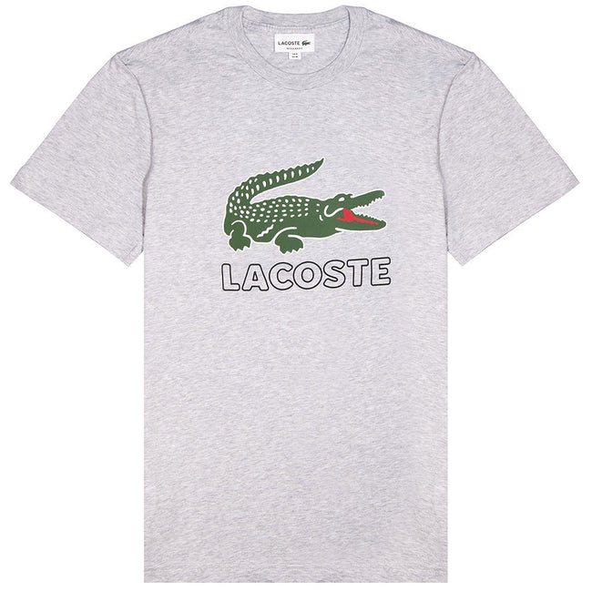 Lacoste TH6386 Logo T-Shirt in Silver Chine