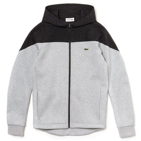 Lacoste SPORT SH3532 9VJ Hooded Colourblock Two-Ply Fleece Zip Sweatshirt in Grey Chine/Grey Chine sweatshirt Lacoste