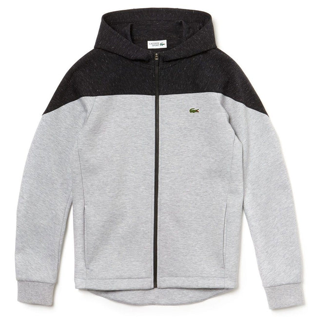Lacoste SPORT SH3532 9VJ Hooded Colourblock Two-Ply Fleece Zip Sweatshirt in Grey Chine/Grey Chine