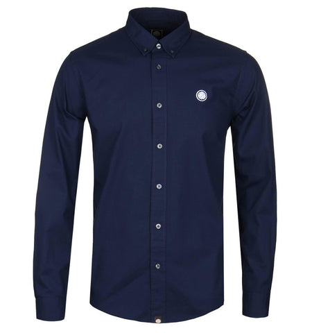 Pretty Green Classic Fit Oxford Shirt in Dark Navy Shirts Pretty Green