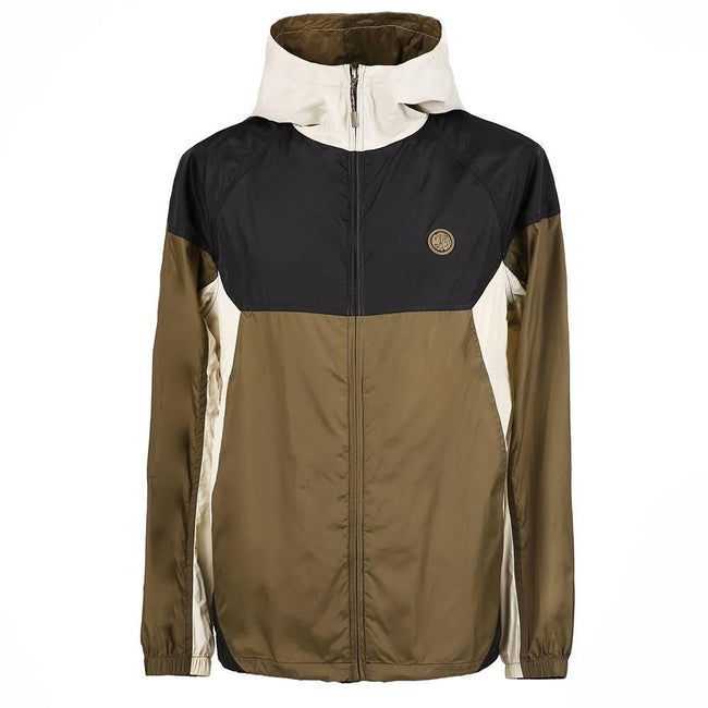 Pretty Green Zipthrough Hooded Contrast Jacket in Khaki/ Black