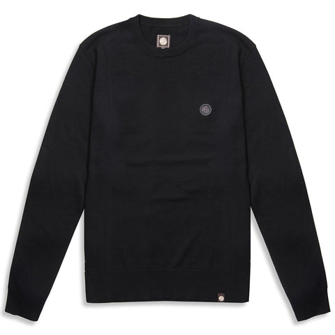 Pretty Green Crew Neck Knitted Jumper in Black Jumpers Pretty Green